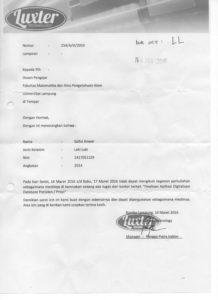 Surat Izin untuk Tugas Finalisasi Aplikasi Digitalisasi Database Presiden By Luxter Technology