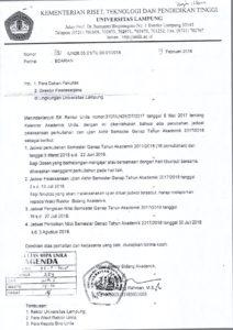 Perubahan Jadwal Pelaksanaan perkuliahan dan ujian Akhir Semester Genap Tahun Akademik 2017/2018